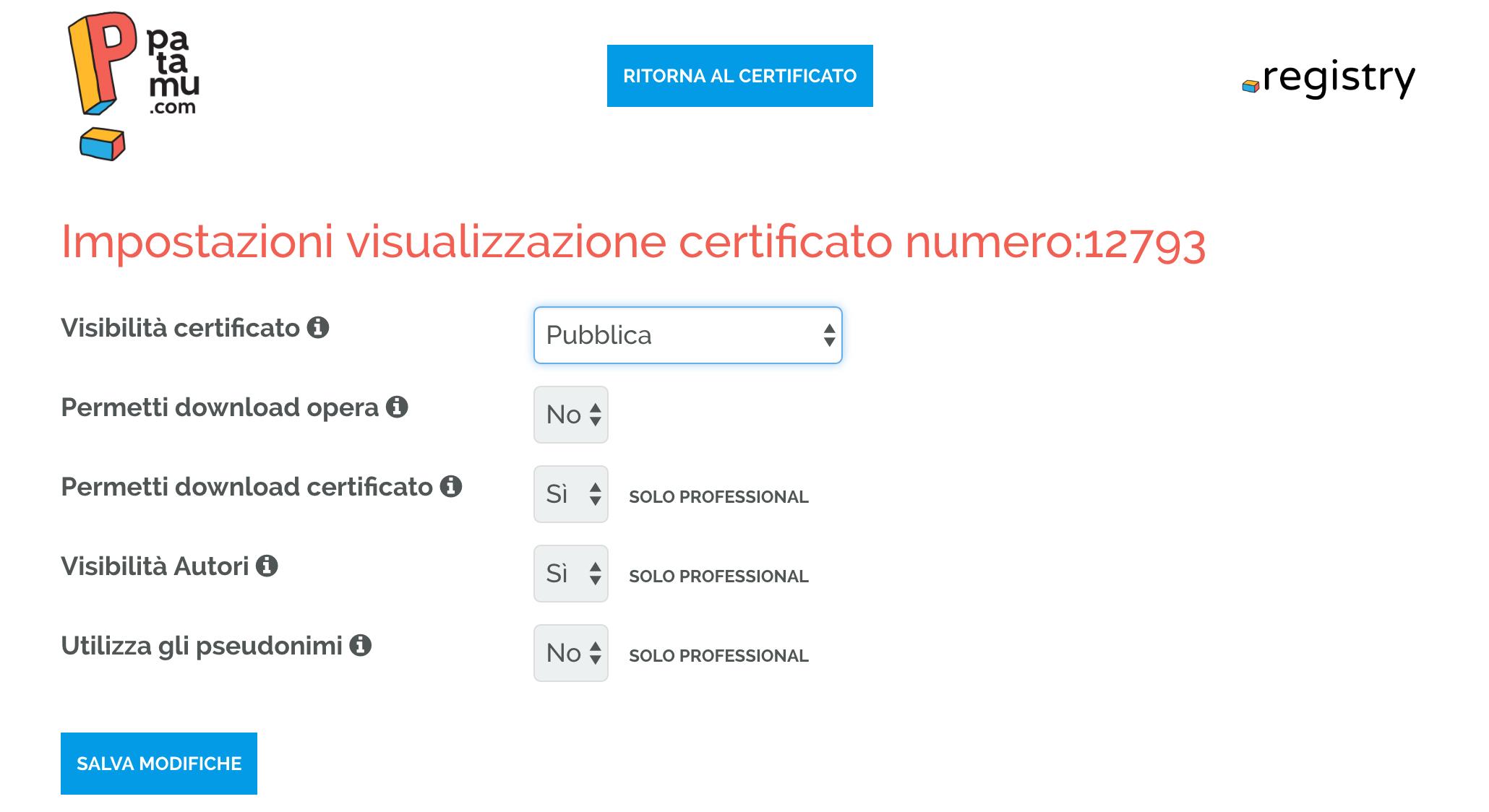 Impostazioni Visualizzazione Certificato di Deposito